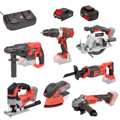 Pack complet Bricolage Easy Full : Perceuse/Perfo/Meuleuse/Scie sauteuse/circulaire/sabre/ponceuse/batteries 4Ah/2Ah
