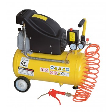 Compresseur d'air 25L, 2HP avec flexible, soufflette