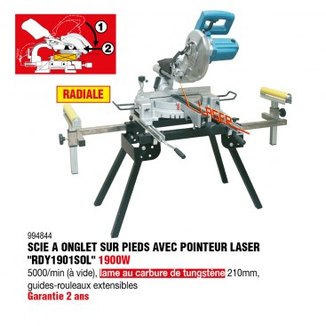 Scie à onglets radiale sur pieds type Rdy1901SOL - RONDY