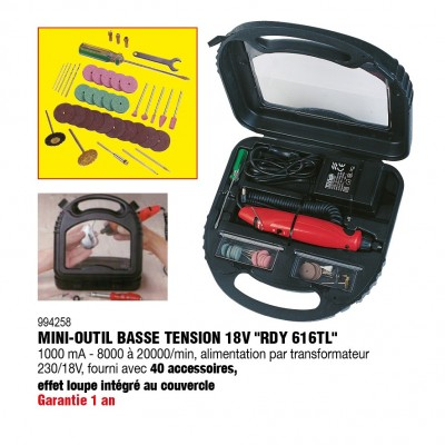Mini outils basse tension 18V avec 40 accessoires RDY616TL - RONDY FRANCE