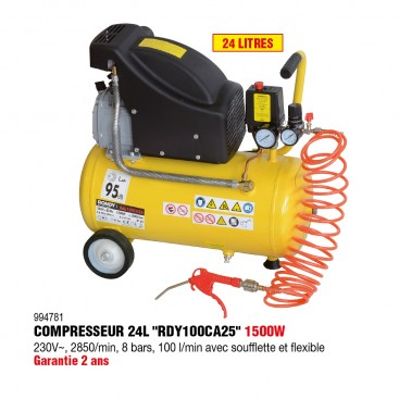 Compresseur d'air 25L, 2HP avec flexible, soufflette et 2 indicateurs de pression - RONDY