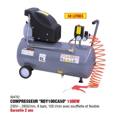 Compresseur d'air 50L, 2HP avec flexible, soufflette - RONDY