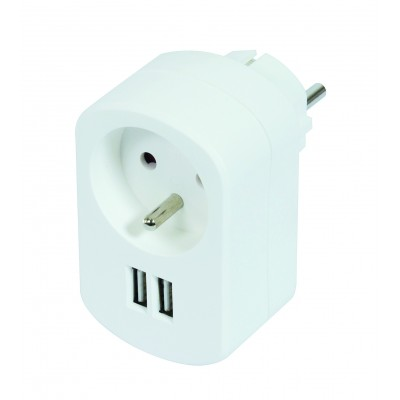 Prise 16A+T+ 2 chargeurs USB 2A global blanche