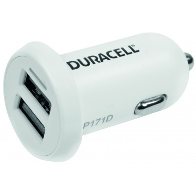Chargeur double usb  voiture 12V, blanc 2.4+1A