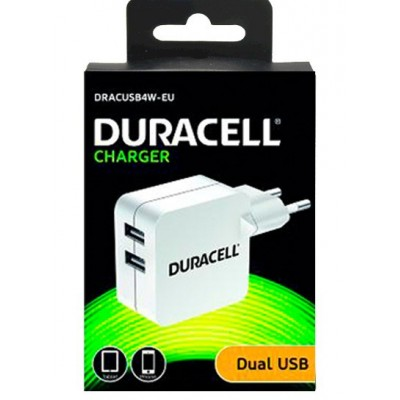 Chargeur usb double duracell blanc 4,8A (2,4A + 2,4A)