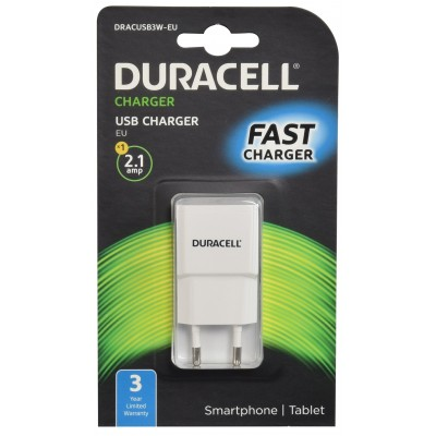 Chargeur USB duracell blanc 2,1A