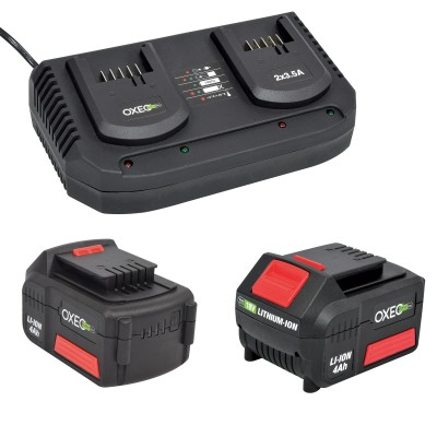 2 Batteries 4Ah et chargeur double super rapide batterie 18V Easy Full - 2X 3.5A